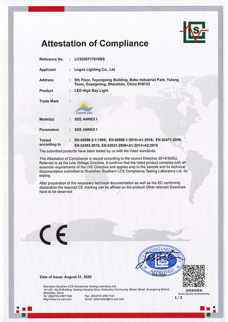 LogosLED CE-LVD Cert for LED High Bay Light