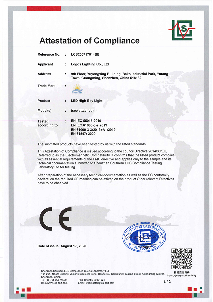 LogosLED CE-EMC Cert for LED High Bay Light