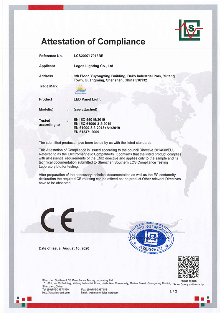 LogosLED CE-EMC Cert for LED Panel Light