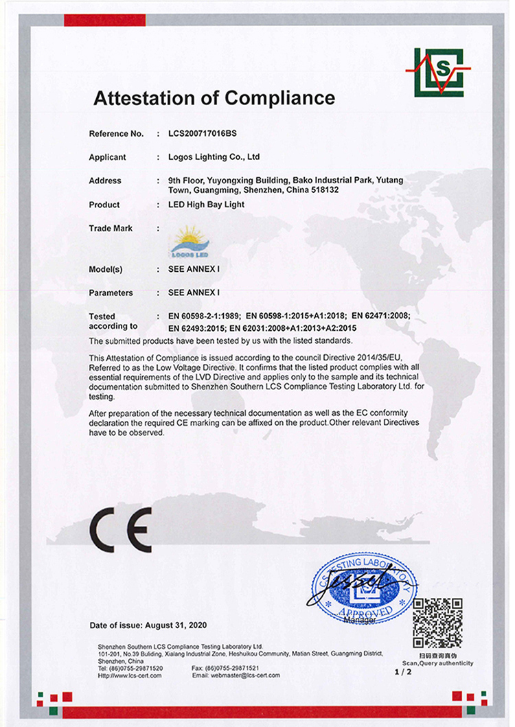 LogosLED CE-LVD Cert for LED High Bay Light