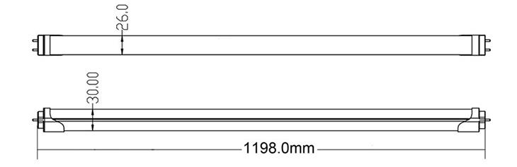 led tube light dimmension-1200