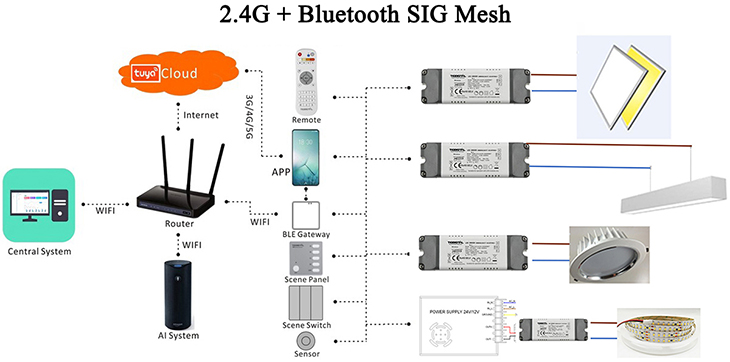 2.4G Wireless and Bluetooth SIG Mesh Control